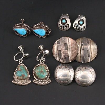 Southwestern Style Bear Paw 800 Silver and Sterling Silver Turquoise Earrings