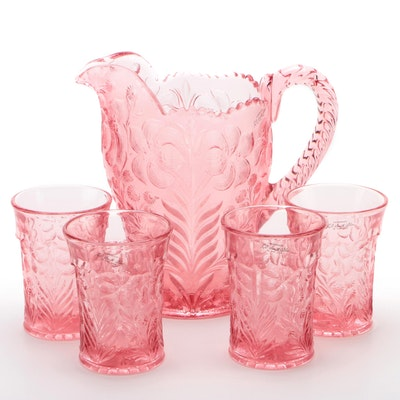 "L.E. Smith ""Pink Dogwood"" Depression Glass Pitcher and Tumblers"