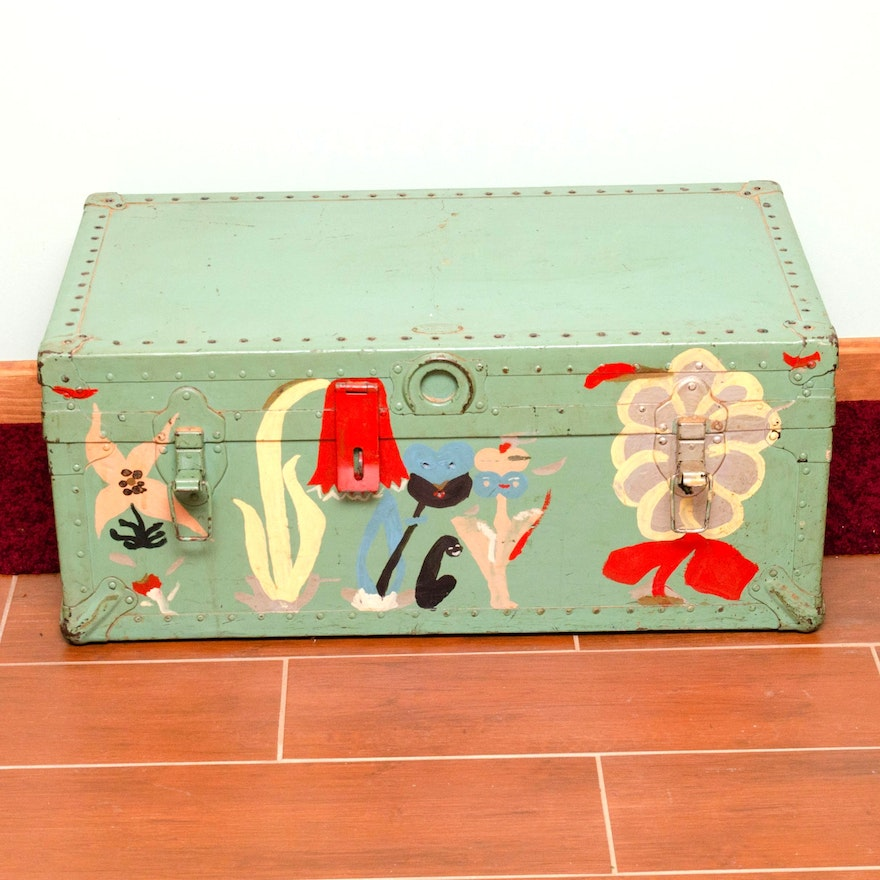 American Hardware Company Inc. Hand-Painted Storage Trunk
