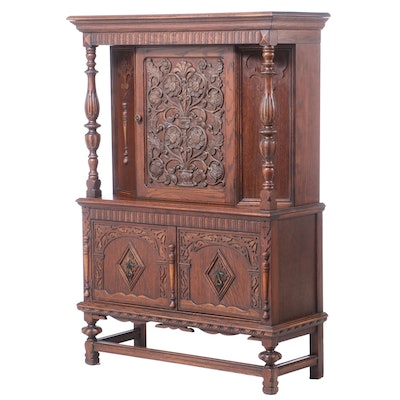 Jacobean Style Oak China Cupboard, circa 1930