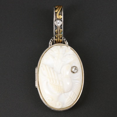 Sterling Silver, White Agate and Sapphire Lovebird Locket with Bronze Accents