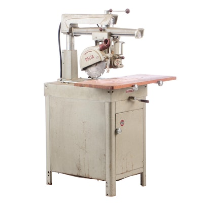 Delta Rockwell Super 990 Radial Arm Saw with Base Cabinet