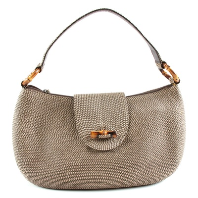 Eric Javits Woven Shoulder Bag with Bamboo Accents