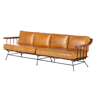 Mid Century Modern Walnut Vinyl Upholstered Sofa, Mid-20th Century
