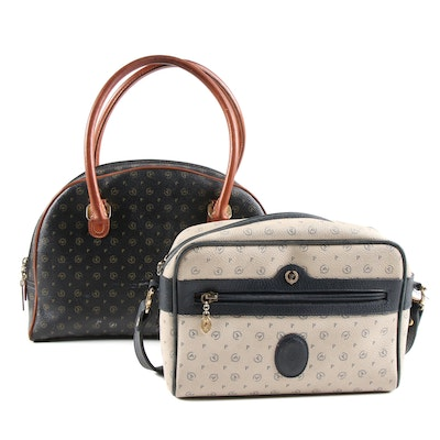 Pollini Dome Satchel and Shoulder Bag in Monogram Canvas and Leather
