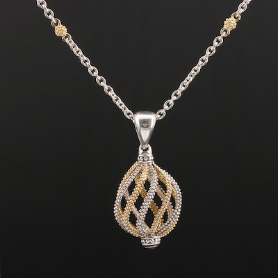 Lagos Sterling Silver and 18K Yellow Gold Pendant Necklace