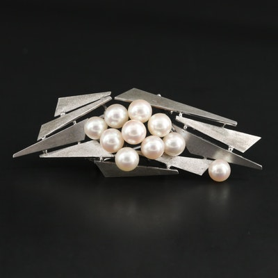 Sterling Silver Cultured Pearl Abstract Converter Brooch