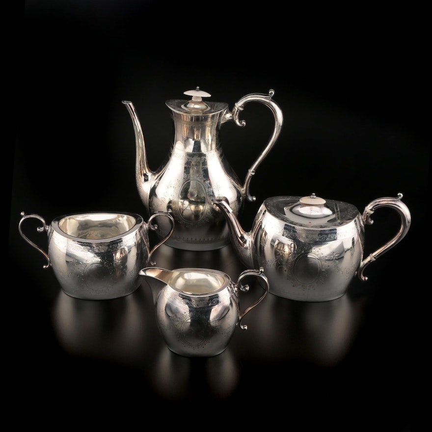Atkin Brothers Silver Plate Teapot, Coffee Pot, Sugar, and Creamer