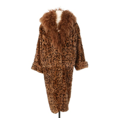 Dyed Sheared Rabbit Fur Coat with Mongolian Lamb Fur Trim, 1980s Vintage
