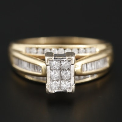 14K Yellow Gold Diamond Ring With 14K White Gold Head