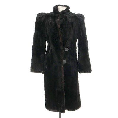 Dyed Sheared Rabbit Fur Coat, Mid-20th Century