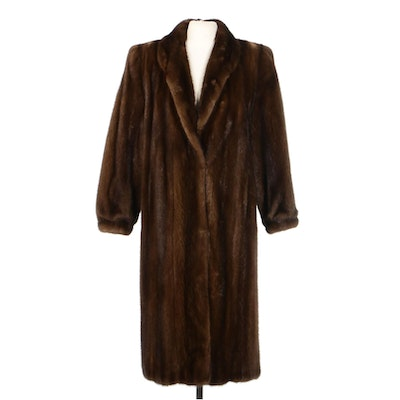 Mahogany Mink Fur Coat with Banded Cuff by Maison Blanche, Vintage