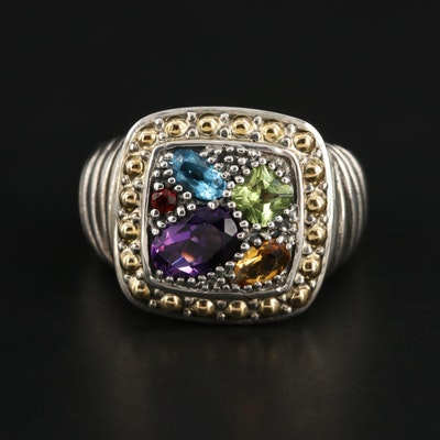 Effy Sterling Silver, Amethyst, Garnet, and Topaz Ring with 18K Accents