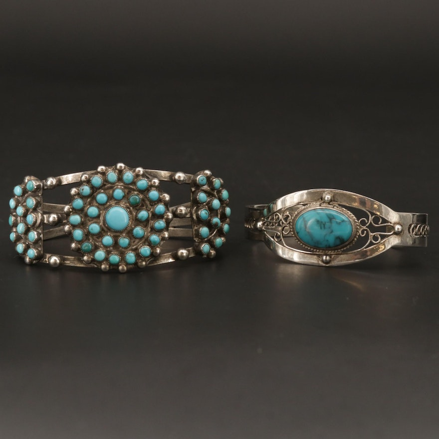 Southwestern Style Sterling Silver Turquoise Cuff Bracelets