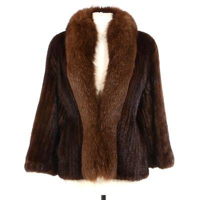 Corded Mahogany Mink Fur Jacket with Fox Fur Trim, Vintage
