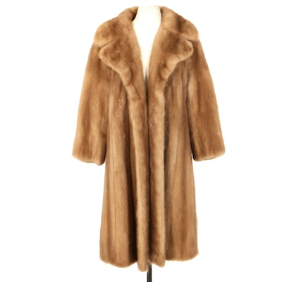 Pastel Mink Fur Swing Coat with Wide Notched Collar, Mid to Late 20th Century