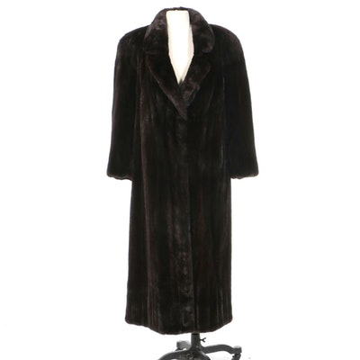 Dark Mahogany Mink Fur Coat with Notched Collar, Vintage