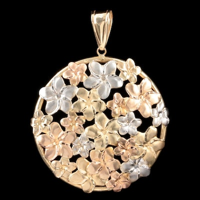 14K Yellow, White and Rose Floral Pendant