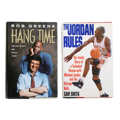 """First Edition """"Hang Time"""" by Bob Greene with """"The Jordan Rules"""" by Sam Smith"""