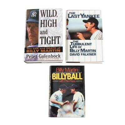 Baseball Manager Billy Martin Book Collection including First Editions