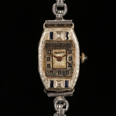 Vintage Benrus 14K White Gold Wristwatch with Diamond and Synthetic Sapphire
