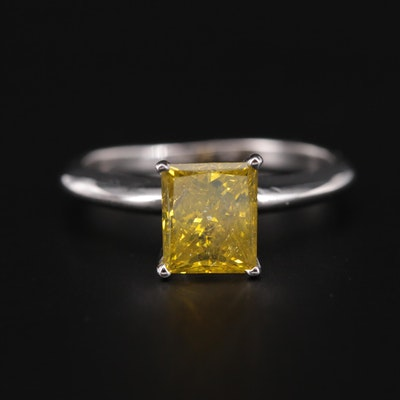 14K White Gold 2.76 CT Yellow Diamond Solitaire Ring