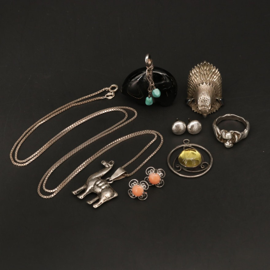Assorted Sterling Silver Jewelry With Bear Pendant and Eagle Ring