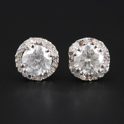 14K White Gold 1.19 CTW Diamond Stud Earrings