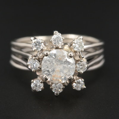 14K White Gold 1.12 CTW Diamond Ring