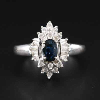 14K White Gold, Blue Sapphire and Diamond Ring