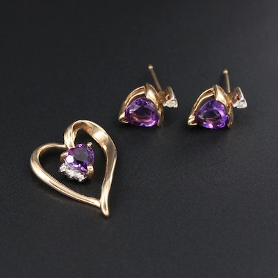 14K Yellow Gold Heart Pendant and Earrings with Amethyst and Diamond