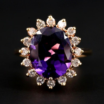 14K Yellow Gold Amethyst Ring with Diamond Halo