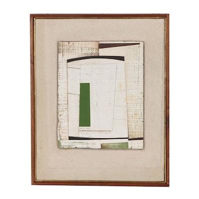 """Donald Roberts Mixed Media Painting """"Escutcheon (Dexter Vert)"""""""