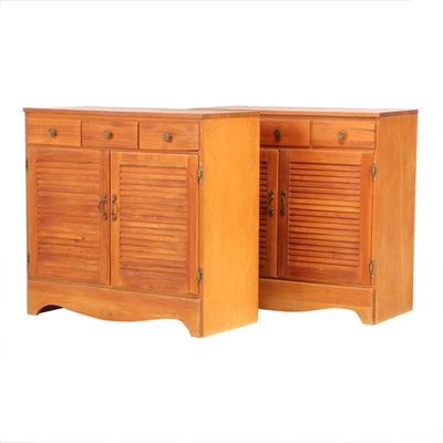 Stained Wood Louvered Door Cabinets, Mid to Late 20th Century