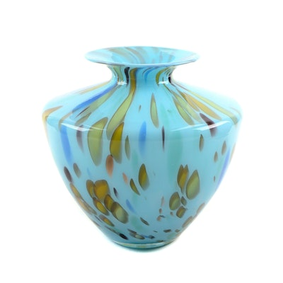 Maestri Vetrai Italian Blown Glass Vase, 1980s