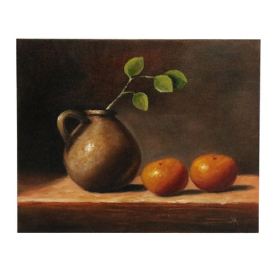 "Houra H. Alghizzi Still Life Oil Painting ""Clementines and Jug"""