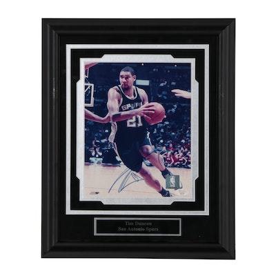 Framed Tim Duncan Signed Action Photo Print  COA