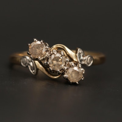 British 18K Yellow and White Gold Diamond Ring