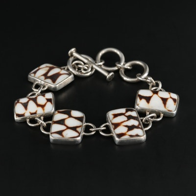 Sterling Silver Shell Chain Link Bracelet