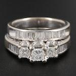 14K White Gold 1.28 CTW Diamond Ring Set