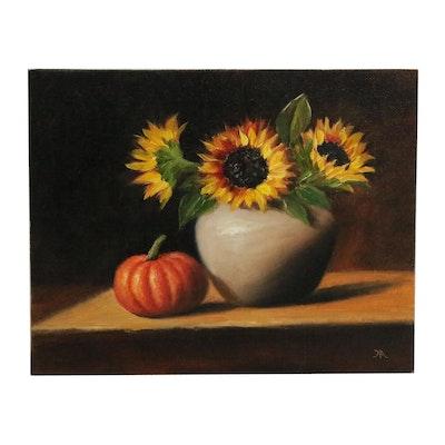 "Houra H. Alghizzi Oil Painting ""Sunflowers and Mini Pumpkin"", 2019"