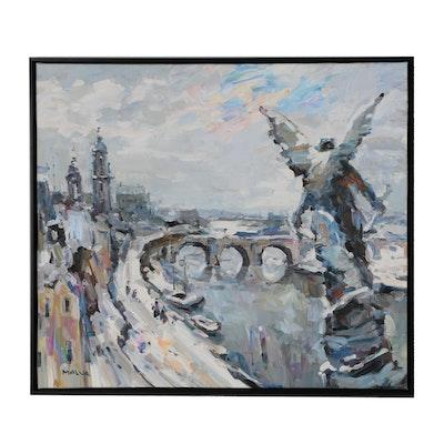 """Omar """"Malva"""" Hamdi Oil Painting """"Danube in Winter Snow"""""""
