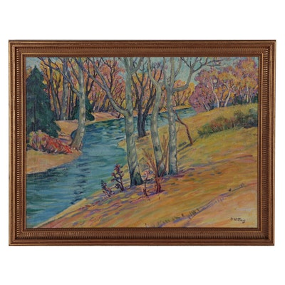 Frances Faig Post-Impressionist Style Landscape Oil Painting