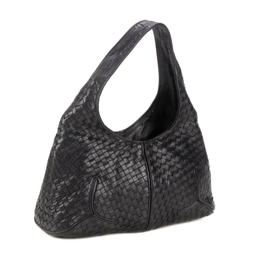 Bottega Veneta Intrecciato Black Leather Shoulder Bag