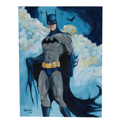 "Brian Johnpeer Acrylic Painting ""Batman"""