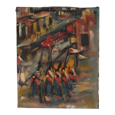 Abstract Oil Painting, Mid 20th Century