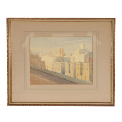 H.C. Baker Cityscape Watercolor Painting