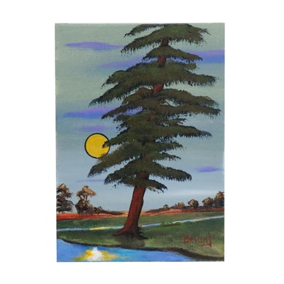 """Brian Johnpeer Acrylic Painting """"The Redwood"""""""