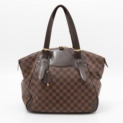 Louis Vuitton Damier Ebene Verona Coated Canvas and Brown Leather Shoulder Bag