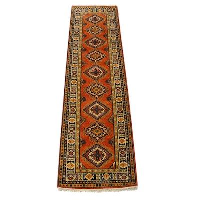 2'7 x 10'0 Hand-Knotted Indo-Caucasian Kazak Carpet Runner